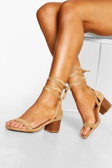 Womens Tan Wooden Low Block Heel Wrap Sandals