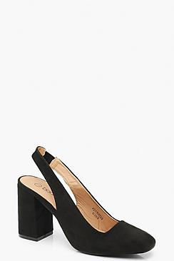 Block Heel Square Toe Slingback Court Shoes