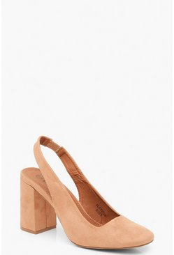Womens Tan Block Heel Square Toe Slingback Court Shoes