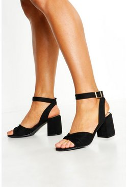 Womens Black Twist Front Low Block Heels