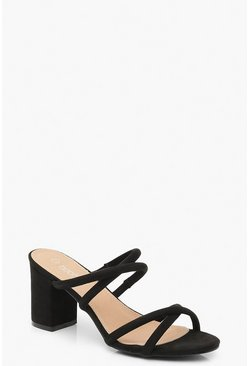 Mule con tacco largo e fascette multiple, Nero, Femmina