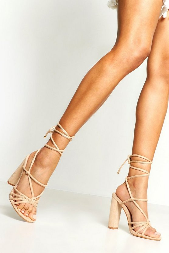 Womens Blush Knot Front Wrap Strap Block Heels