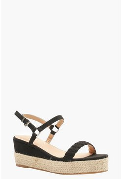 Womens Black Plait Front Espadrille Wedges