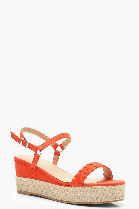 Womens Orange Plait Front Espadrille Wedges
