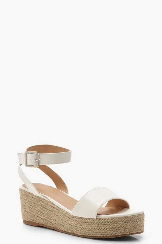 Womens White 2 Part Espadrille Wedges