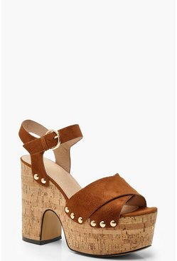 Womens Tan Cork Platform Wedges