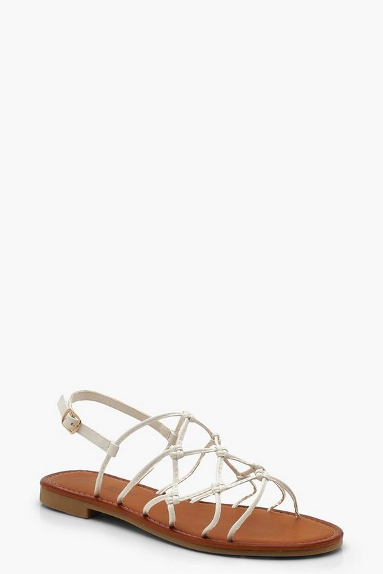 White Wide Fit Knot Gladiator Sandals