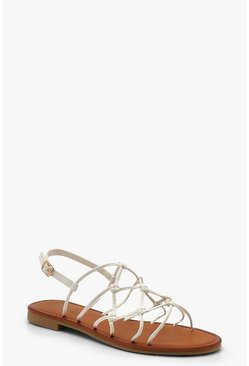 Womens White Wide Fit Knot Gladiator Sandals