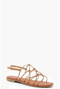 Womens Tan Wide Fit Knot Gladiator Sandals