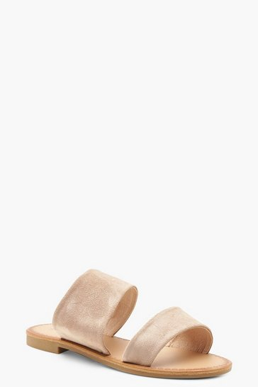 Womens Nude Wide Fit Asymmetric Sliders