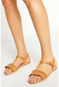 Tan Wide Fit Woven Fringe Sandals
