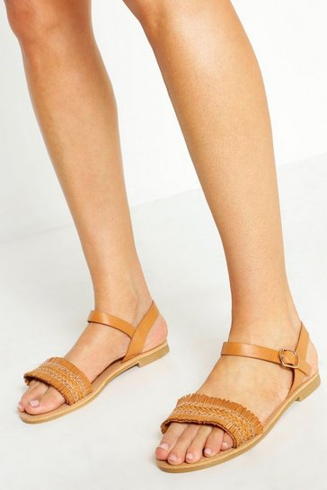 Womens Tan Wide Fit Woven Fringe Sandals
