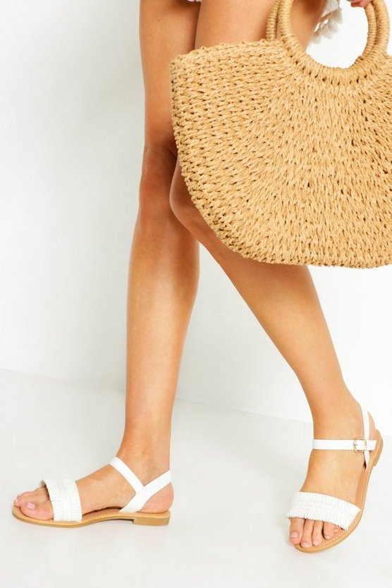 White Wide Fit Woven Fringe Sandals