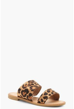 Womens Wide Fit Leopard Asymmetric Sliders