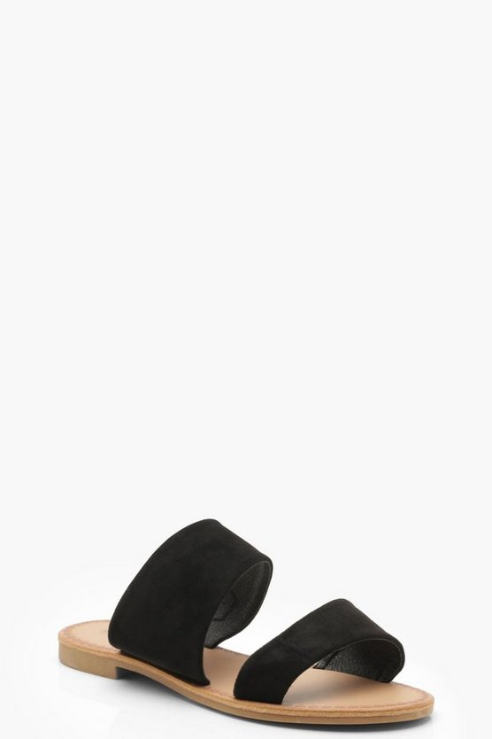 Womens Black Wide Fit Asymmetric Sliders