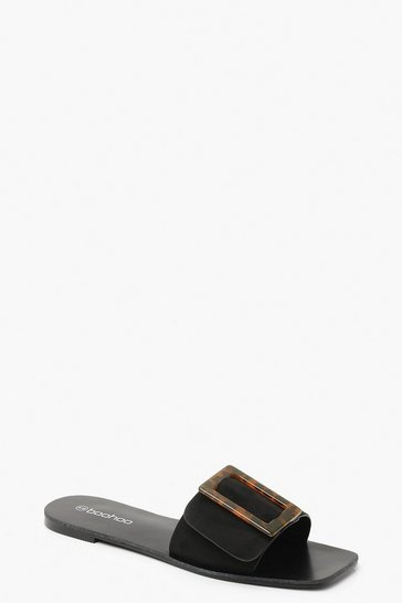 Womens Black Tortoise Buckle Sliders