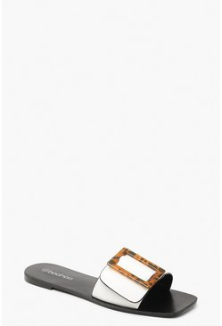 Womens White Tortoiseshell Buckle Sliders