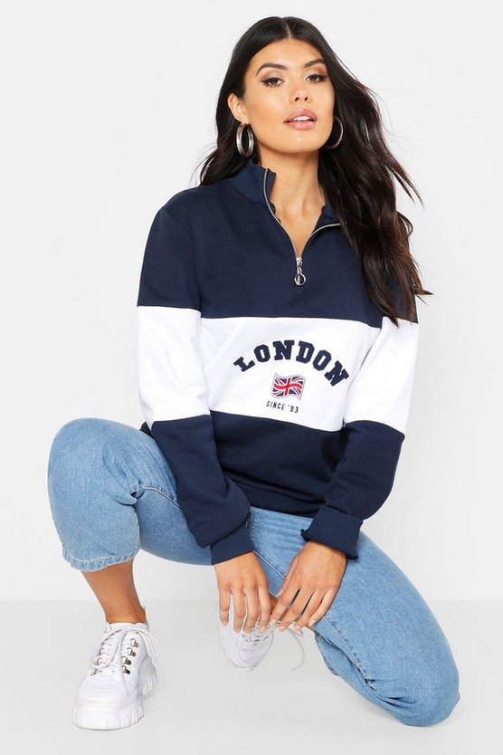 Navy Colour Block London Embroidered Zip Sweat