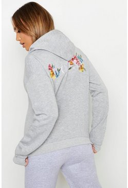 Womens Grey Woman Floral Back Print Hoody