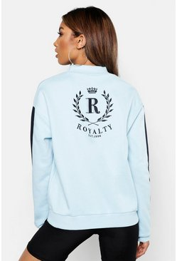 Womens Sky Funnel Neck Premium Embroidered Panel Sweat