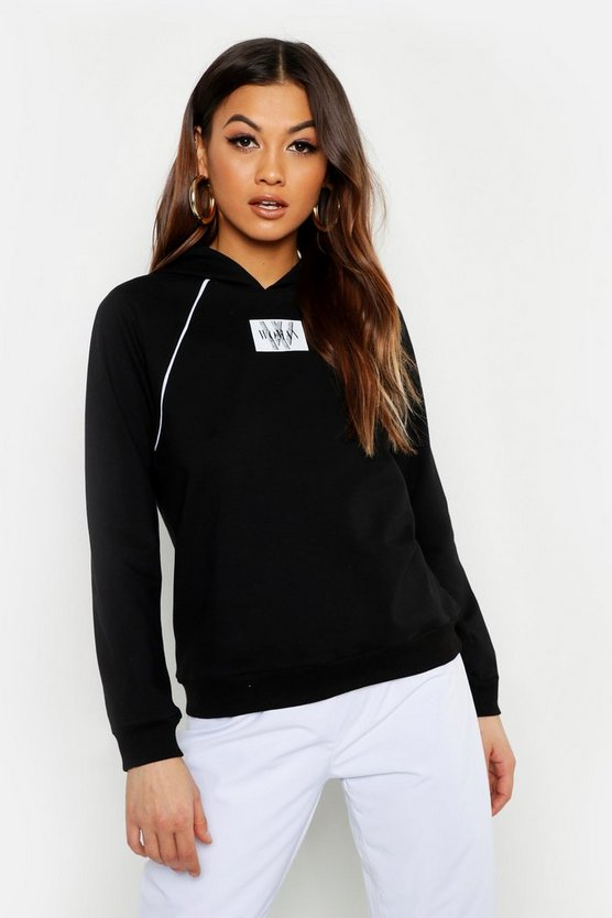 Womens Black Woman Print Piping Detail Hoody