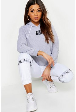 Womens Pale grey Woman Print Piping Detail Hoody