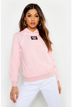 Womens Pink Woman Print Piping Detail Hoody