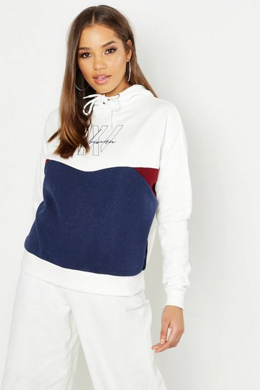 Womens Ecru Colour Block Woman Printed Hoody