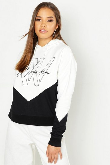Womens Ecru Woman Printed Colour Block Hoody