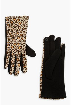 Womens Natural Leopard Ponti Glove