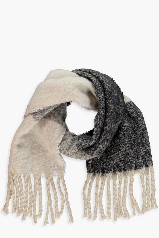 Womens Black Chunky Colourblock Boucle Heavyweight Scarf