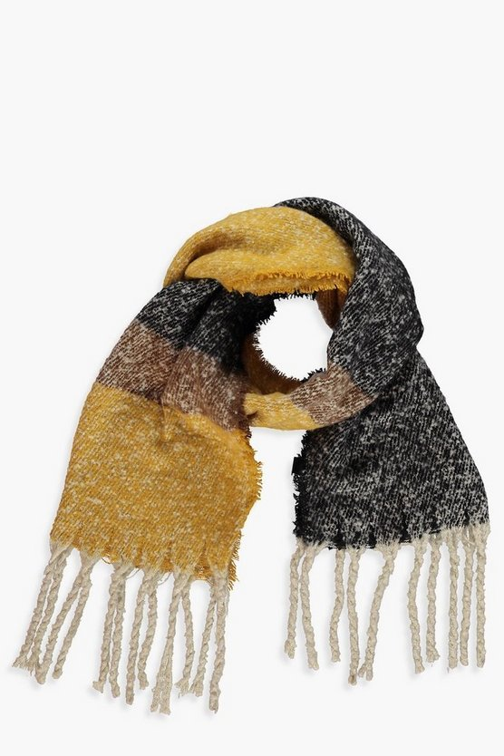 Chunky Colourblock Boucle Heavyweight Scarf