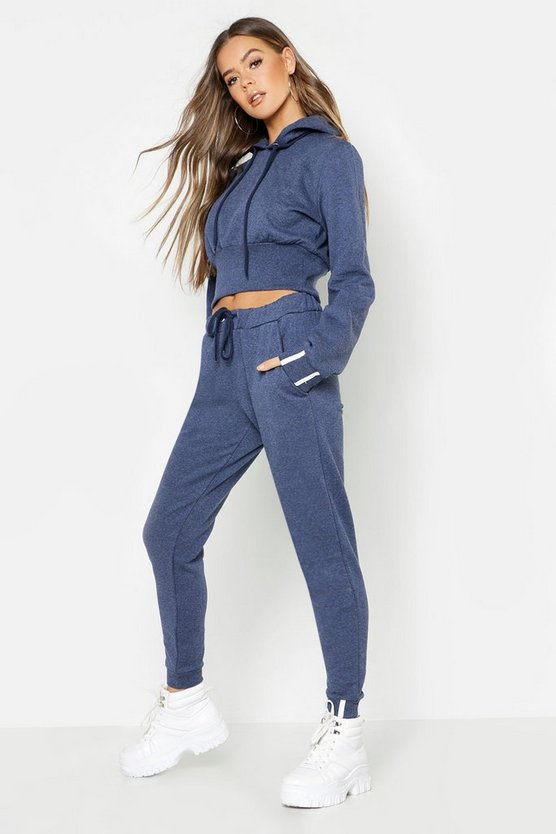 Womens Denim-blue Sports Stripe Hooded Tracksuit