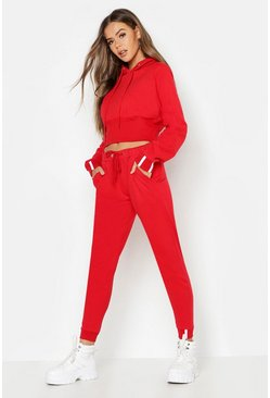 Womens Red Sports Stripe Hooded Tracksuit