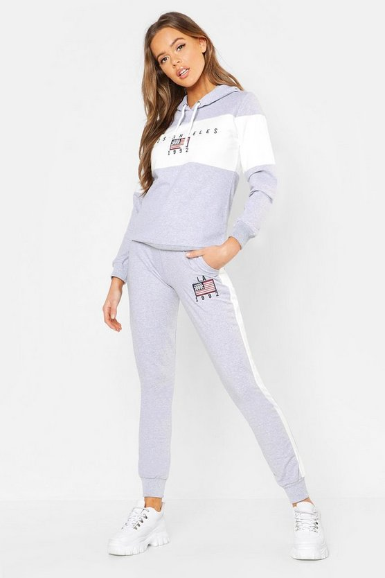 Womens Grey LA Slogan Embroidered Tracksuit