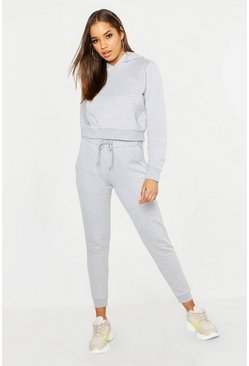 Womens Pale grey Pocket Detail Hooded Tracksuit