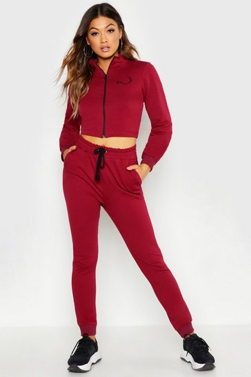 Womens Burgundy Fitted Zip Through Tracksuit