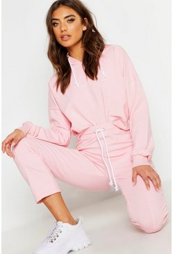 Womens Pink Seam Detail Cropped Tracksuit
