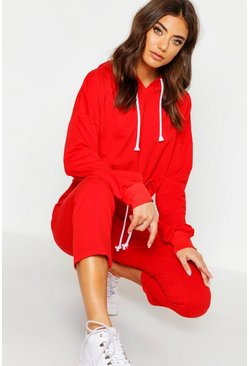 Womens Red Seam Detail Cropped Tracksuit