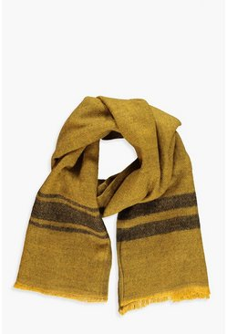 Womens Mustard Two Tone Stripe Boarder Heavyweight Scarf