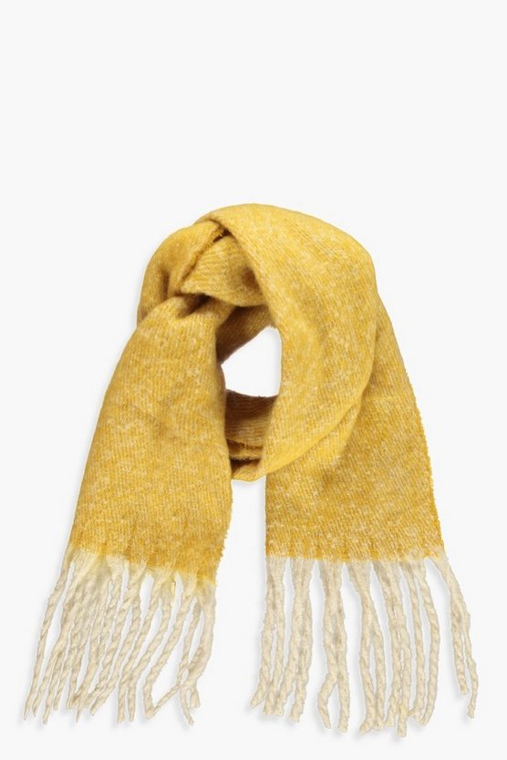 Womens Mustard Boucle Heavy Weight Scarf