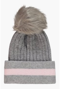 Womens Grey Stripe Detail Faux Fur Pom Beanie
