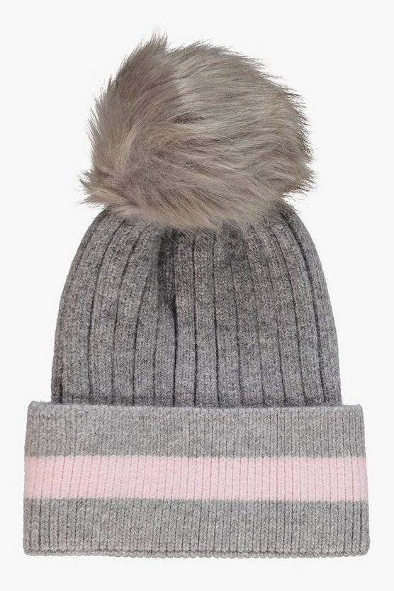 Stripe Detail Faux Fur Pom Beanie