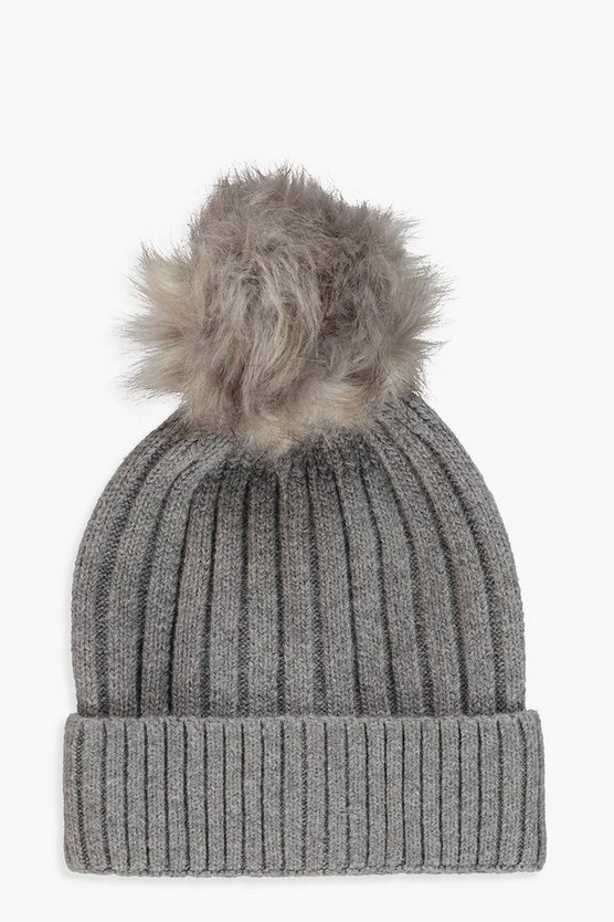 Rib Knot Detachable Faux Fur Beanie