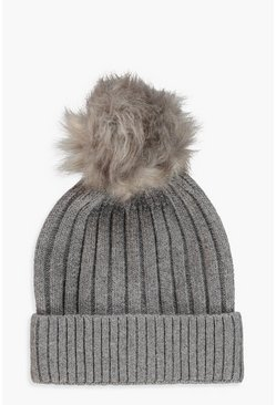 Womens Grey Rib Knot Detachable Faux Fur Beanie