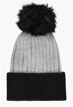Womens Colour Block Faux Fur Beanie