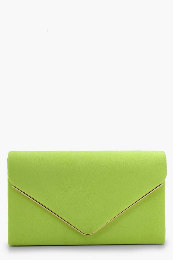 Womens Lime Structured Neon Clutch - 004