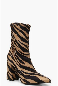 Womens Brown Tiger Block Heel Sock Boots