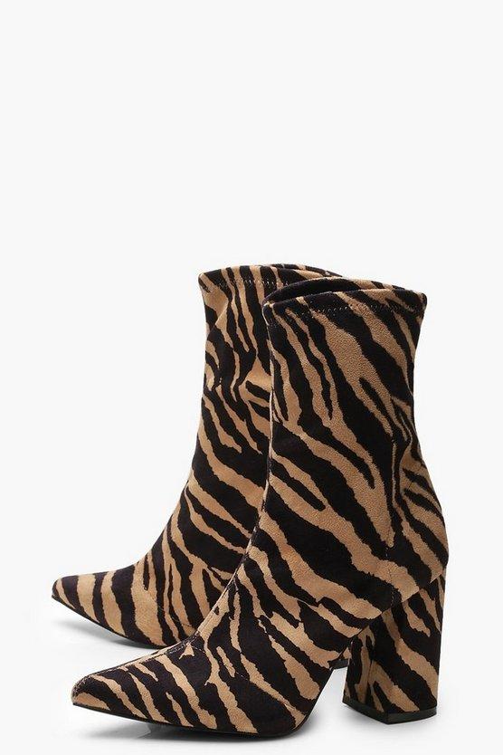 Tiger Block Heel Sock Boots