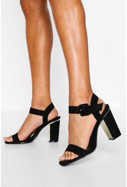 Womens Black Wide Fit 2 Part Block Heels